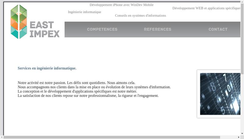 Capture d'écran du site de East Impex