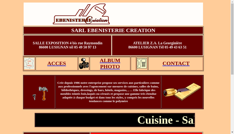 Capture d'écran du site de Ebenisterie Creation
