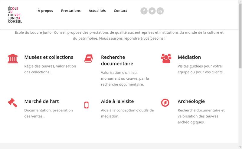 Capture d'écran du site de Ecole du Louvre Junior Conseil