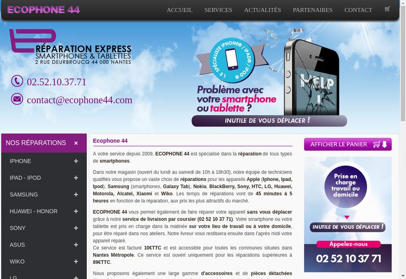 Capture d'écran du site de Ecophone 44