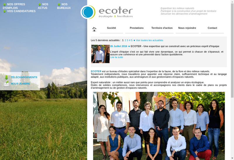 Capture d'écran du site de Ecoter
