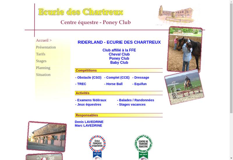 Capture d'écran du site de Ecurie des Chartreux