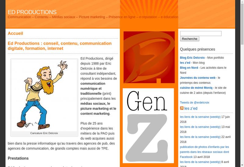 Capture d'écran du site de Ed Productions