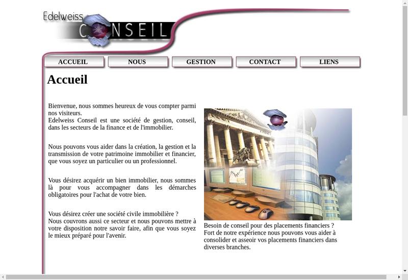 Capture d'écran du site de Edelweiss Conseil