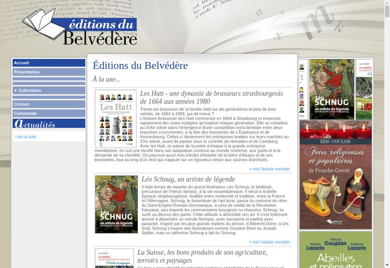 Capture d'écran du site de Editions du Belvedere