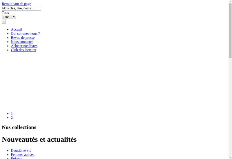 Capture d'écran du site de Editions Tournez la Page