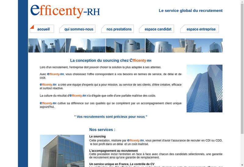 Capture d'écran du site de Efficenty Rh