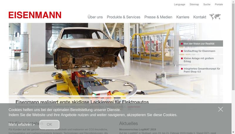 Capture d'écran du site de Eisenmann France SARL