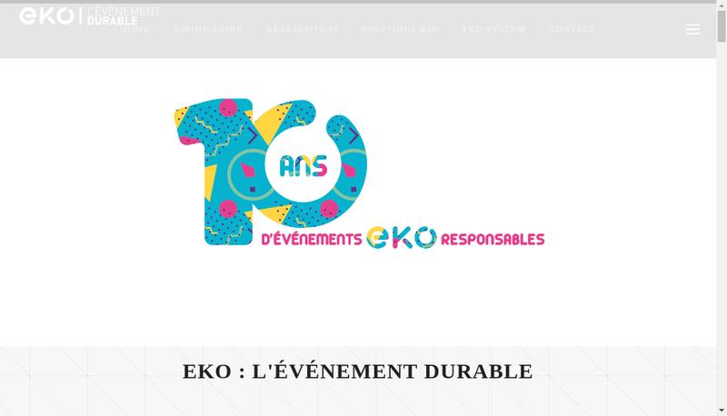 Capture d'écran du site de eko Events