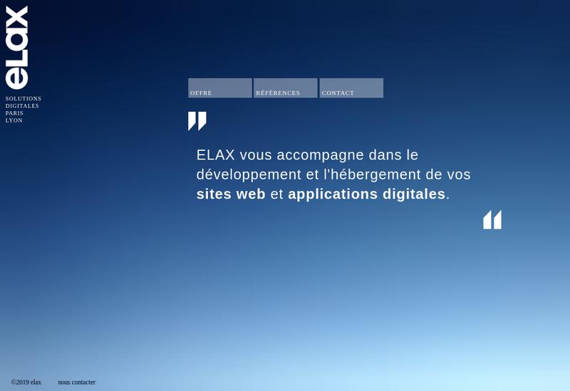 Capture d'écran du site de ELAX