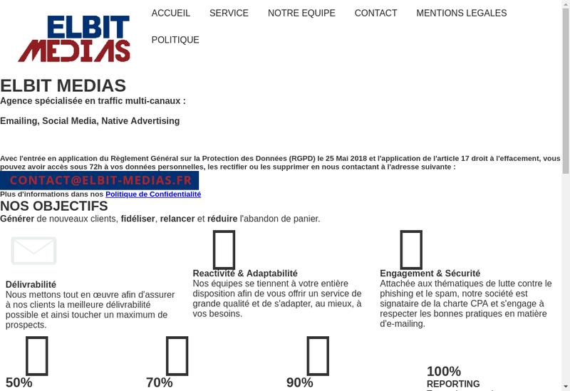 Capture d'écran du site de Elbit Medias