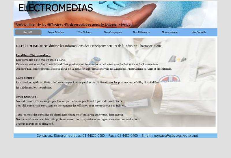 Capture d'écran du site de Electromedias