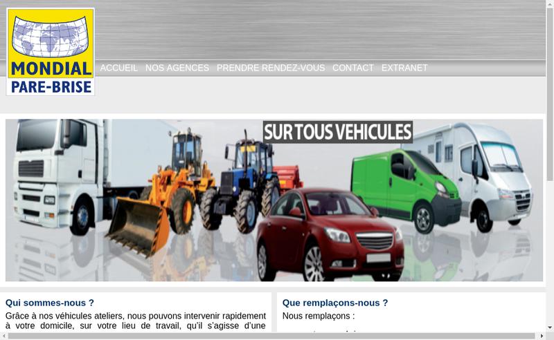 Capture d'écran du site de Mondial Pare Brise