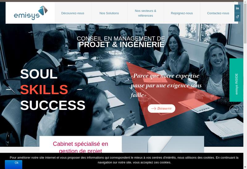 Capture d'écran du site de Holding Emisys