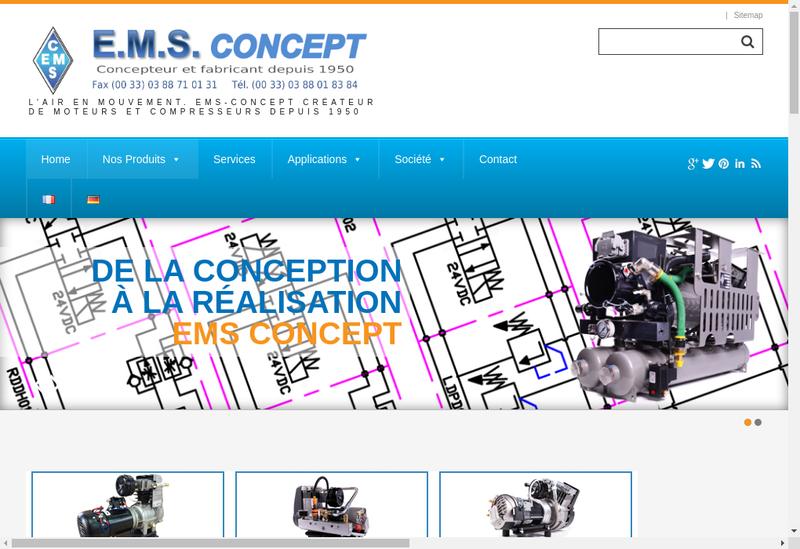 Capture d'écran du site de EMS Concept