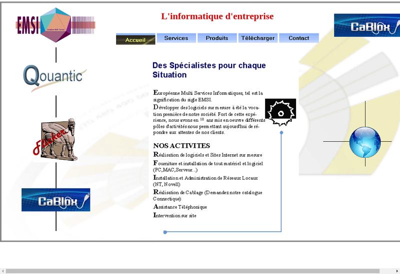Capture d'écran du site de EMSI