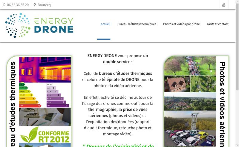 Capture d'écran du site de Energy Drone