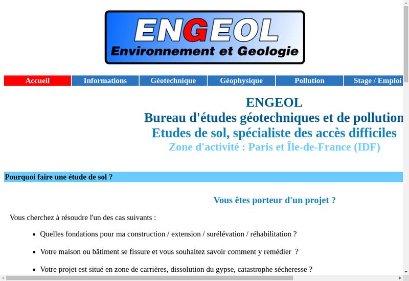 Capture d'écran du site de Engeol