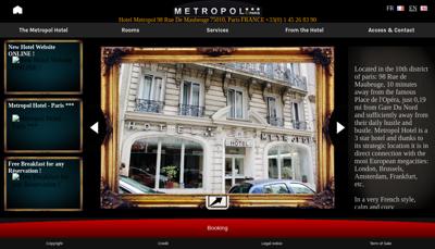 Capture d'écran du site de Metropol Hotel