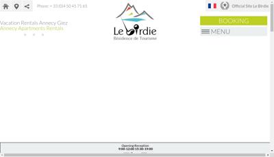 Capture d'écran du site de Residence le Birdie