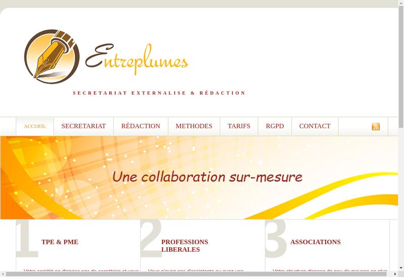 Capture d'écran du site de Entreplumes