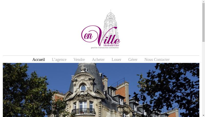 Capture d'écran du site de En Ville Immobilier