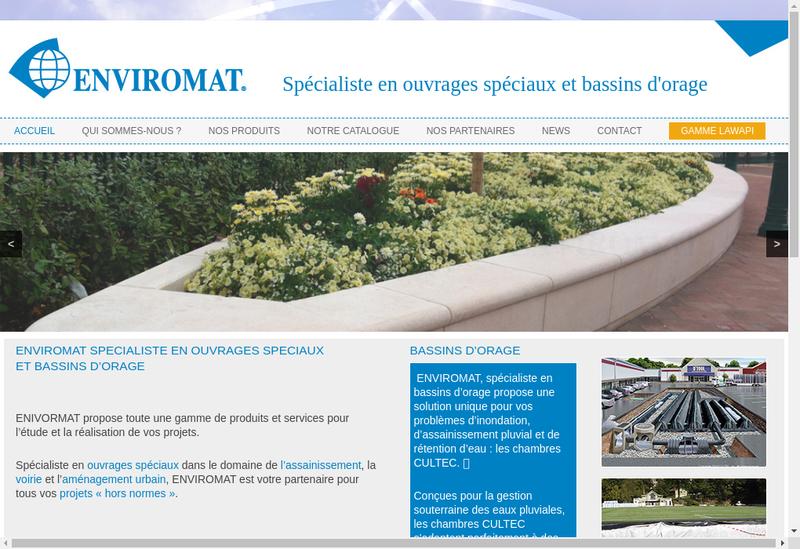 Capture d'écran du site de Enviromat
