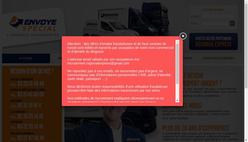 Capture d'écran du site de Envoye Special Nord