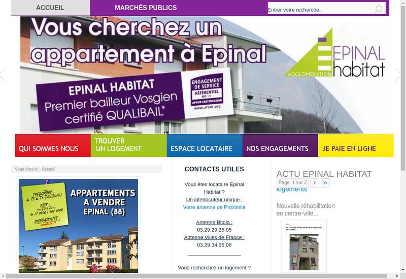 Capture d'écran du site de Office Pub Habitat Agglo d'Epinal