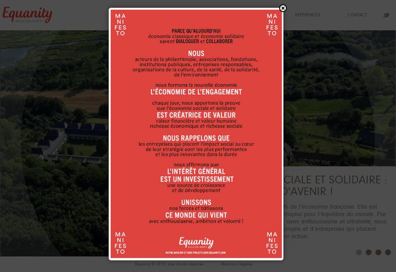 Capture d'écran du site de Equanity-Build Solidarity