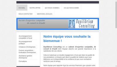 Capture d'écran du site de Equilibrium Consulting