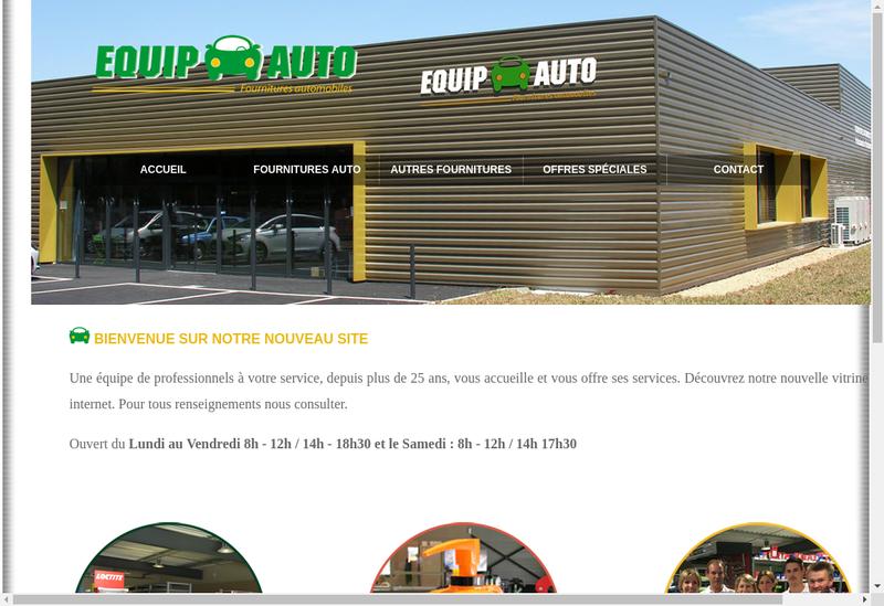 Capture d'écran du site de Equip Auto