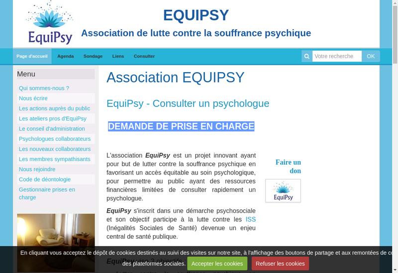 Capture d'écran du site de Equipsy