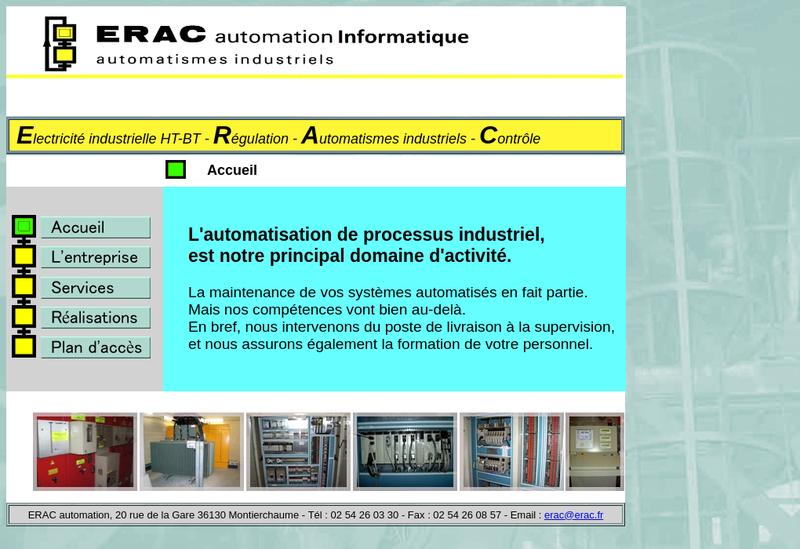 Capture d'écran du site de Erac Automation