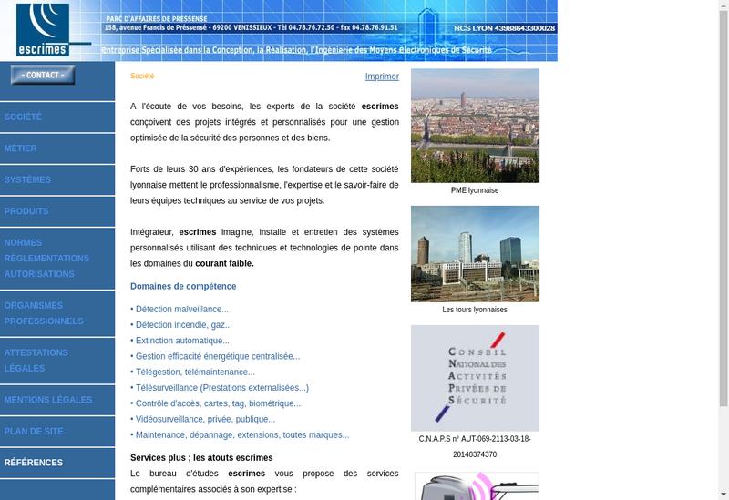Capture d'écran du site de Escrimes