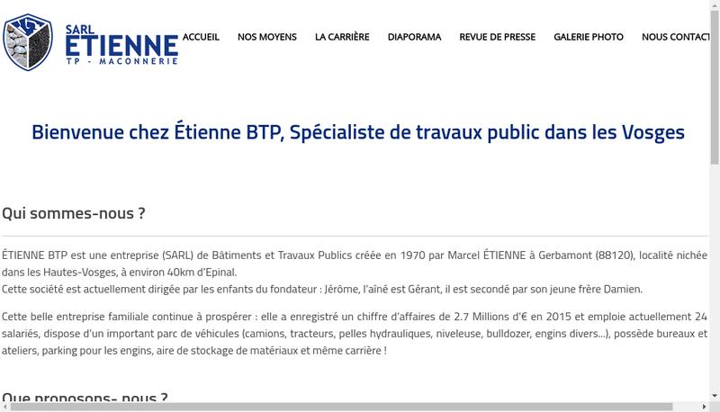 Capture d'écran du site de SARL Etienne