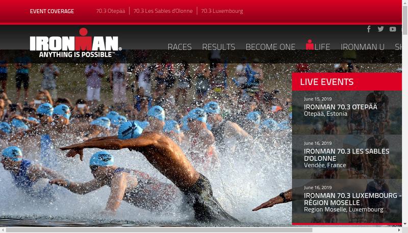 Capture d'écran du site de Ironman France