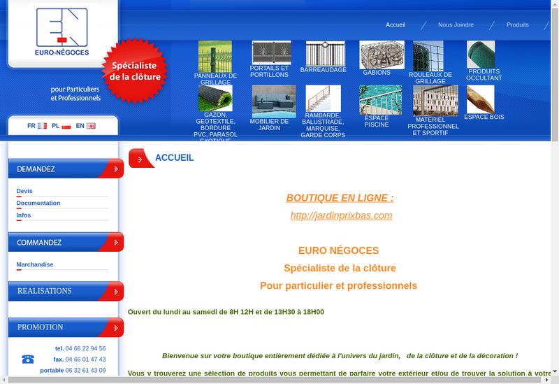 Capture d'écran du site de Euro Negoces