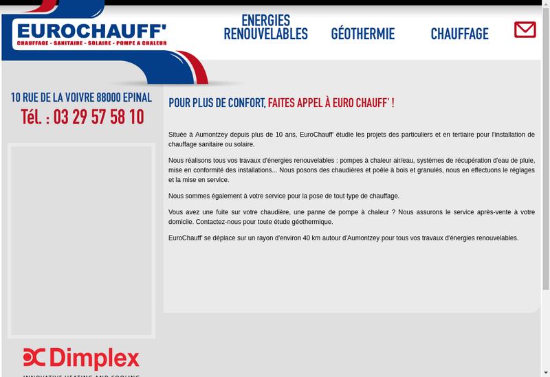 Capture d'écran du site de Euro Chauff