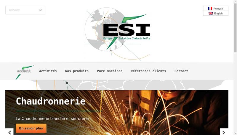 Capture d'écran du site de Esi-Europe Solution Industrielle/Ema-E
