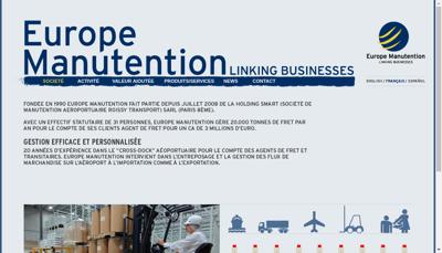 Capture d'écran du site de Europe Manutention