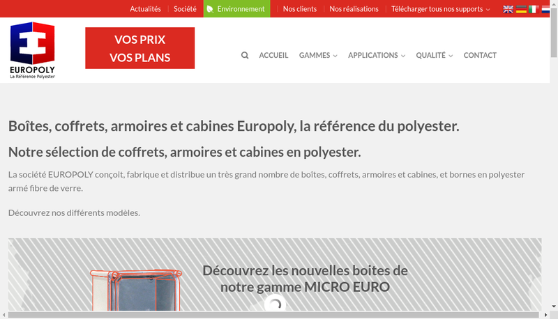 Capture d'écran du site de Europoly