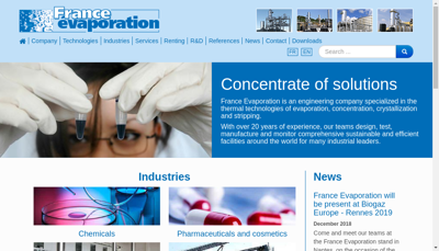 Capture d'écran du site de France Evaporation