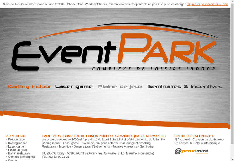 Capture d'écran du site de Event Park