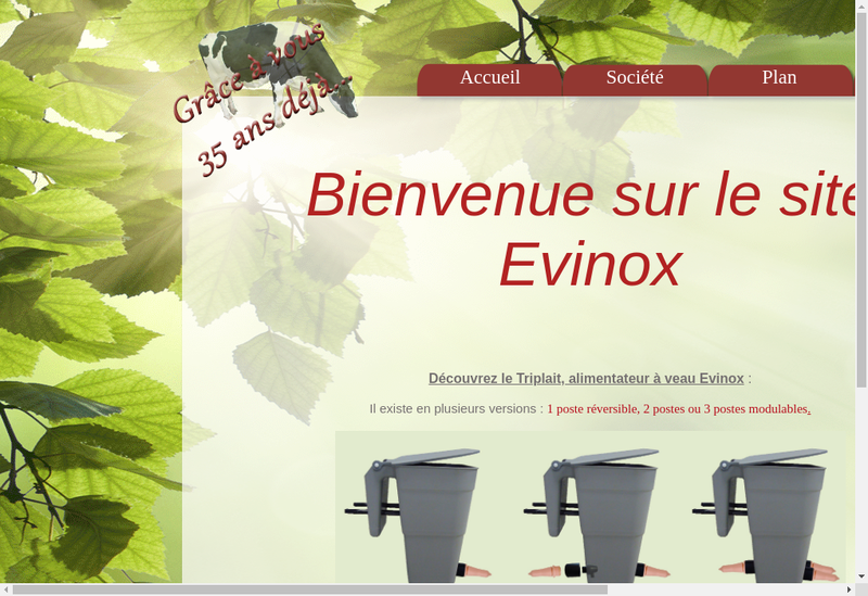 Capture d'écran du site de Evinox