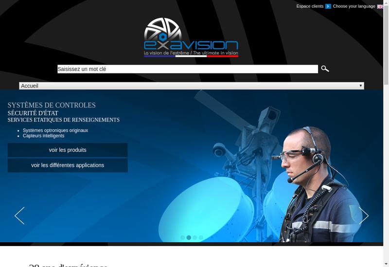 Capture d'écran du site de Exavision