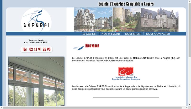 Capture d'écran du site de Experfi