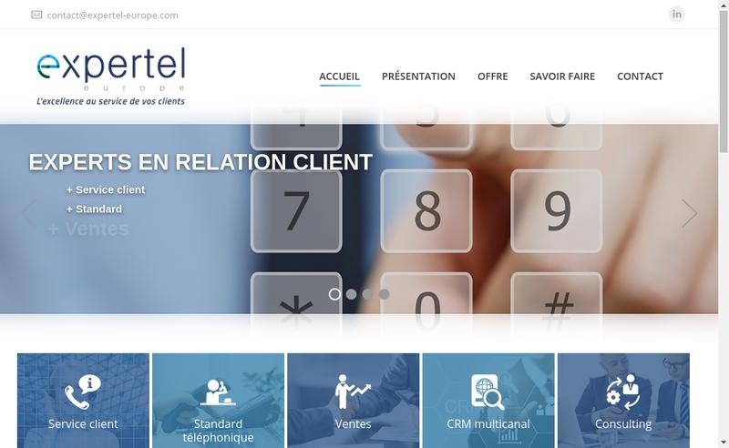 Capture d'écran du site de Expertel Europe, EE, 2E, Expertel Service, Expertel Standard, Expertel Sales, Expertel Conseil