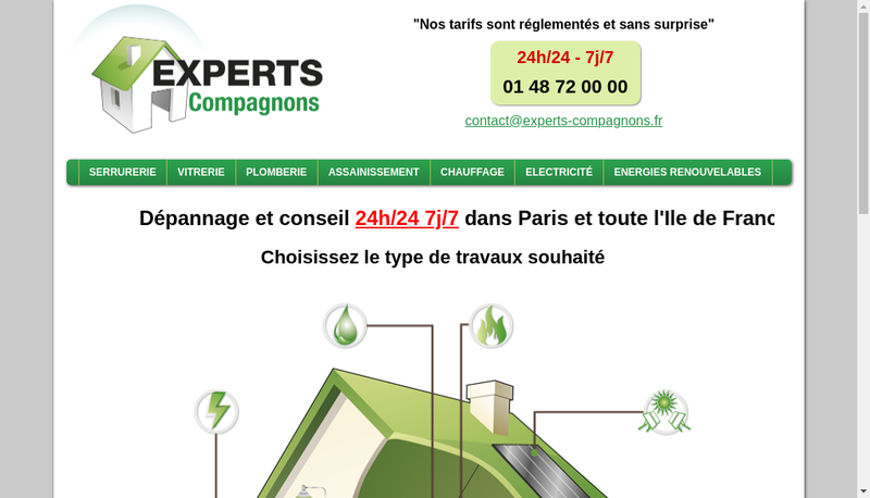 Capture d'écran du site de Experts Compagnons