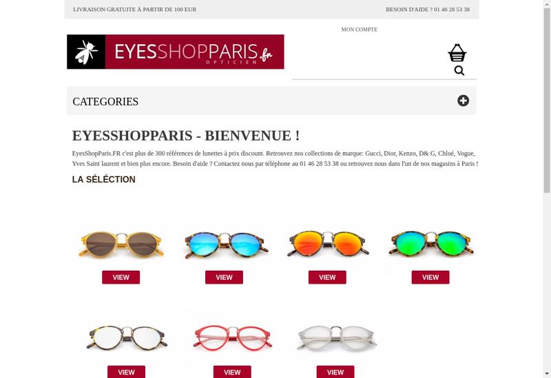 Capture d'écran du site de Dms Optique